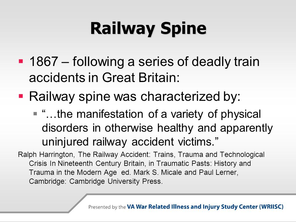 Railway Spine 1867 – following a series of deadly train accidents in Great Britain: Railway spine was characterized by: