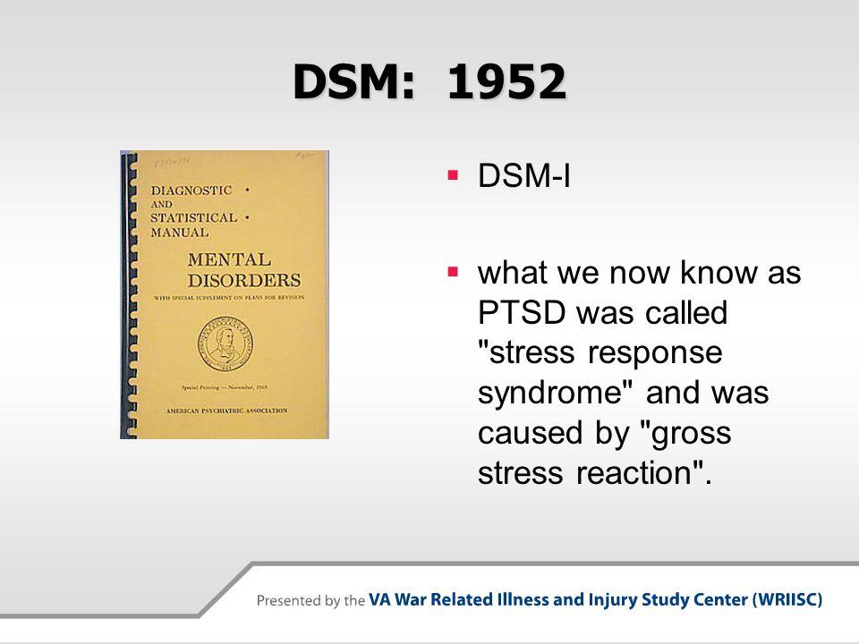 DSM: 1952 DSM-I.