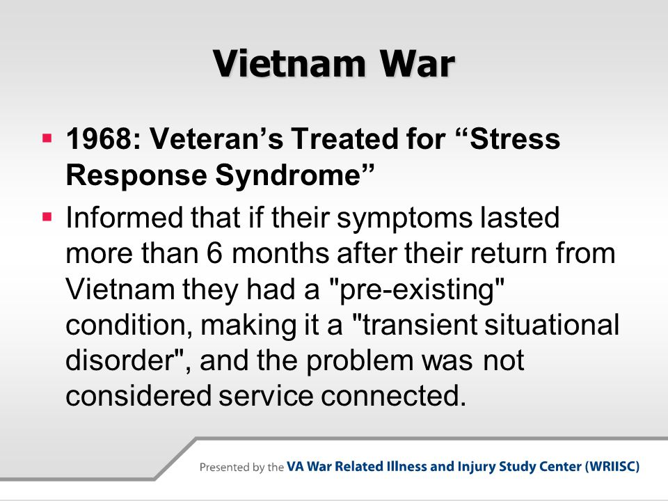 Vietnam War 1968: Veteran's Treated for Stress Response Syndrome