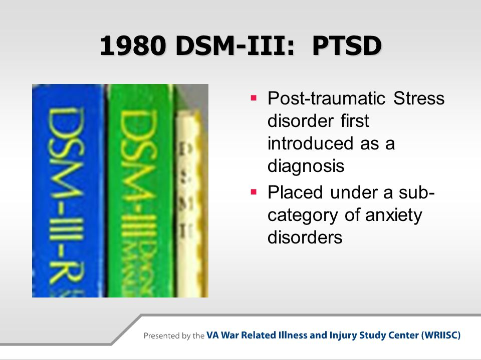 1980 DSM-III: PTSD Post-traumatic Stress disorder first introduced as a diagnosis.