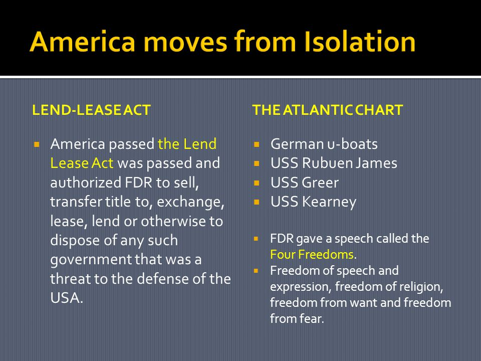 America moves from Isolation