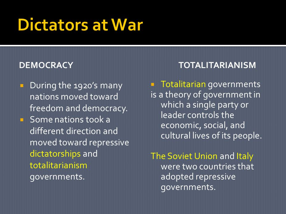 Dictators at War Democracy. totalitarianism. During the 1920's many nations moved toward freedom and democracy.