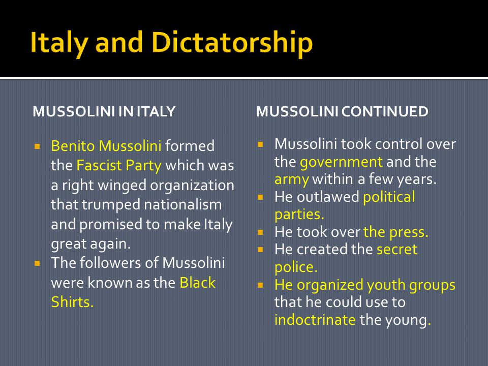 Italy and Dictatorship