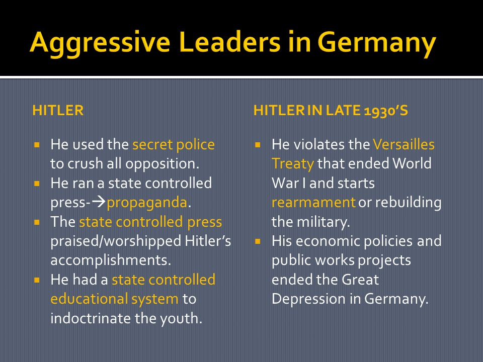 Aggressive Leaders in Germany