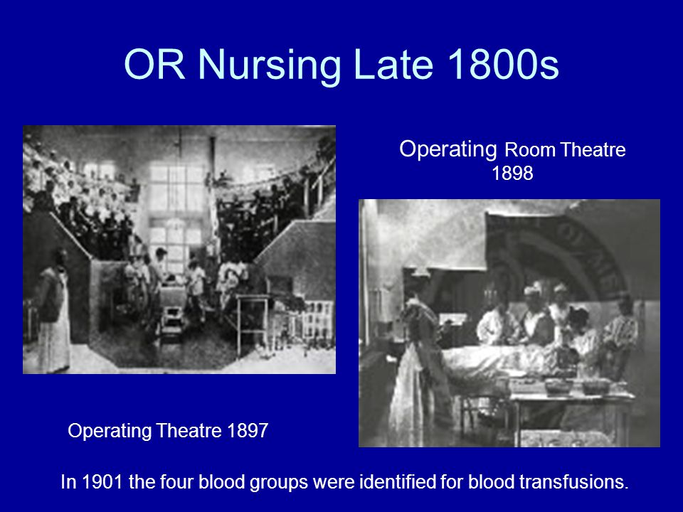 OR Nursing Late 1800s Operating Room Theatre 1898