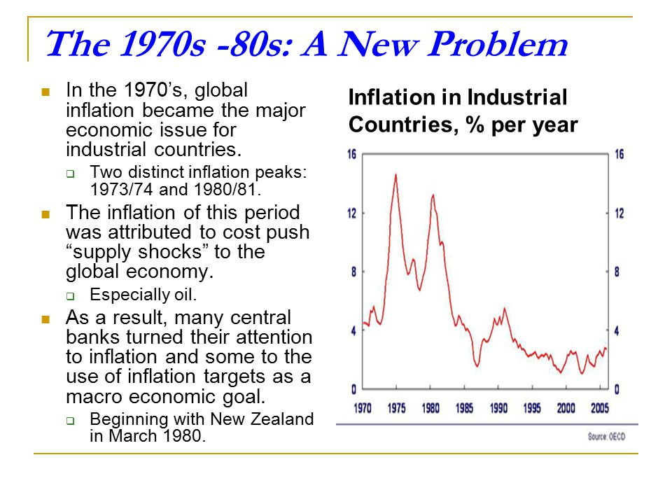 The 1970s -80s: A New Problem In the 1970's, global inflation became the major economic issue for industrial countries.