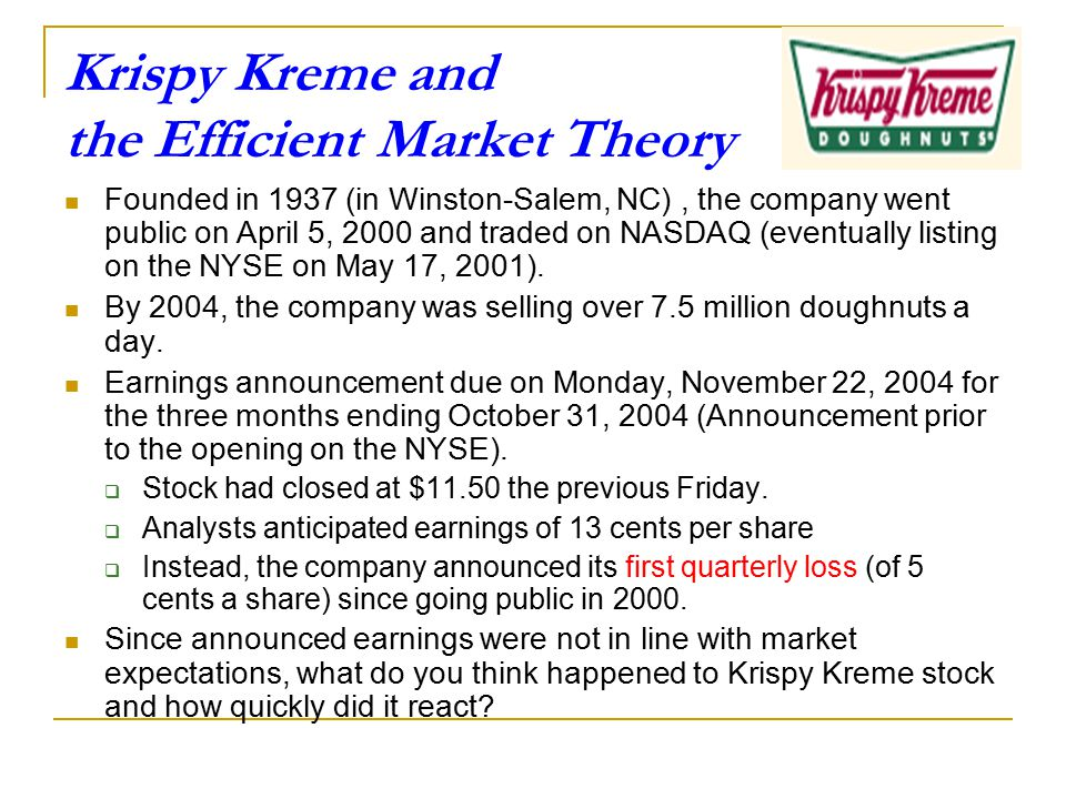 Krispy Kreme and the Efficient Market Theory