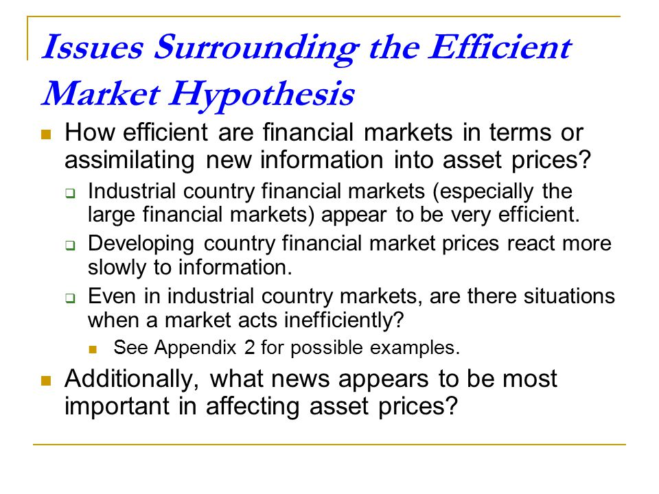 Issues Surrounding the Efficient Market Hypothesis