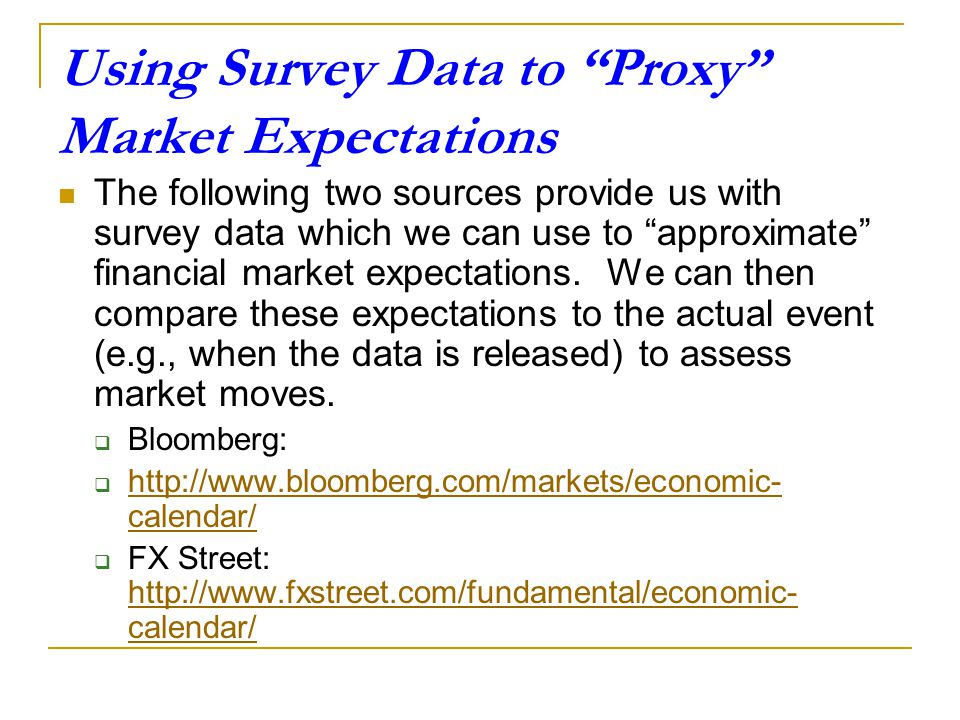 Using Survey Data to Proxy Market Expectations