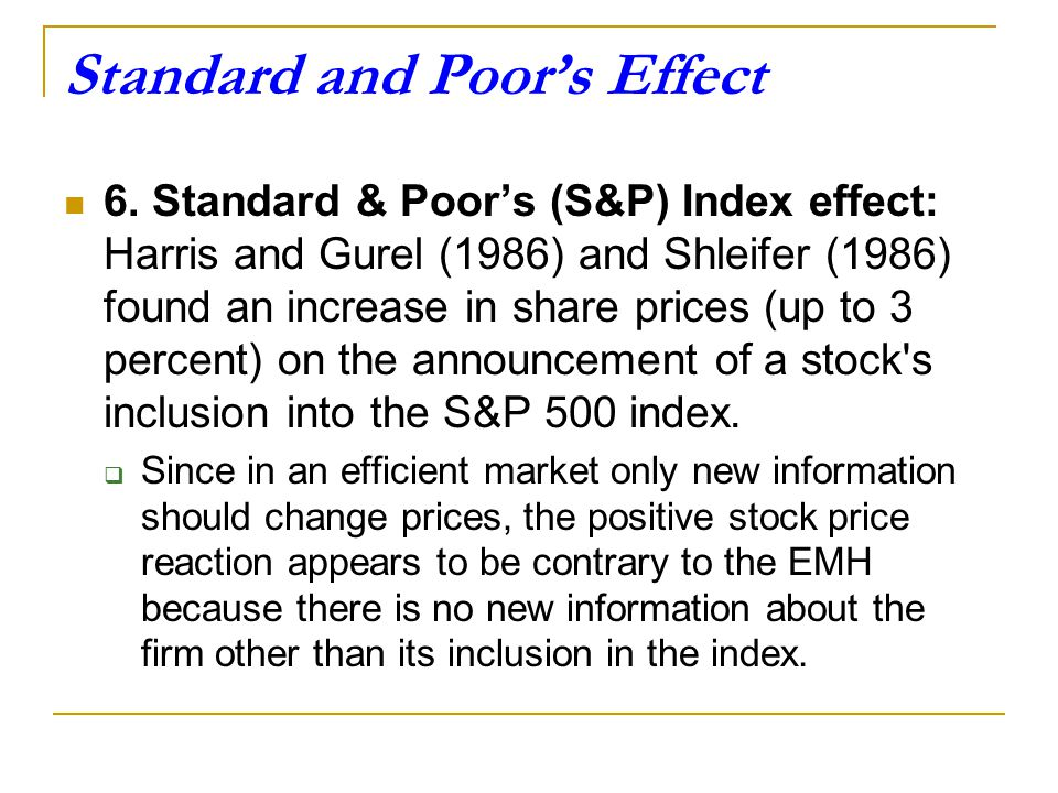 Standard and Poor's Effect