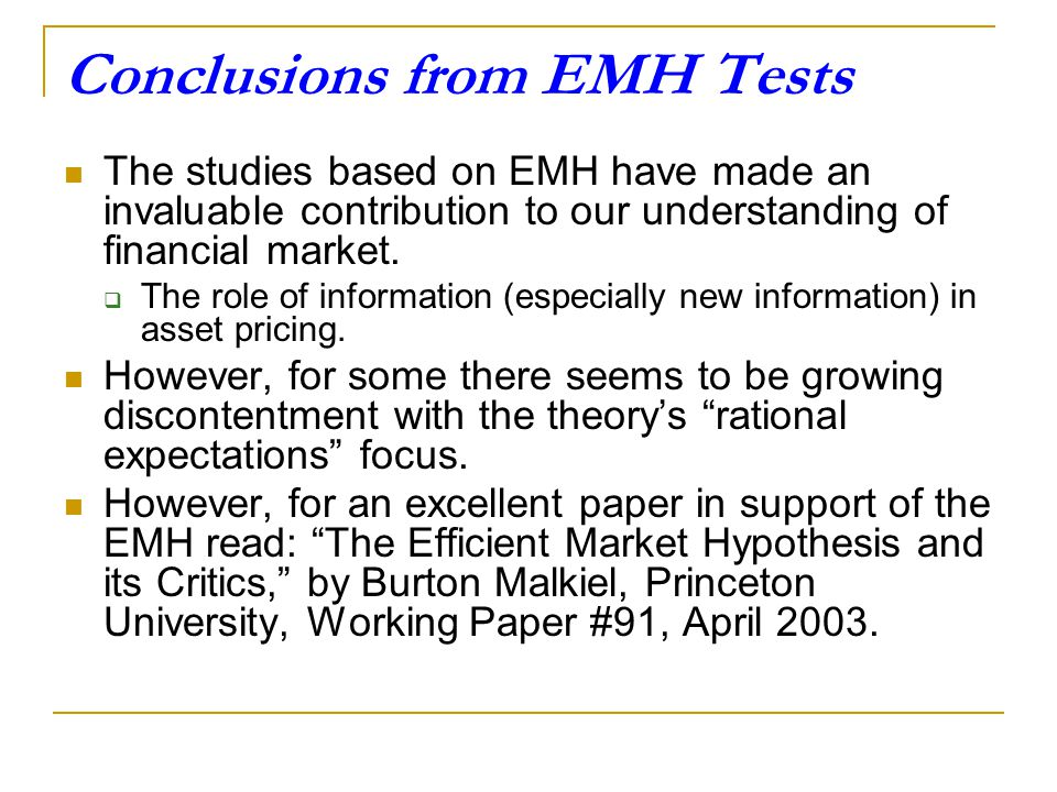 Conclusions from EMH Tests