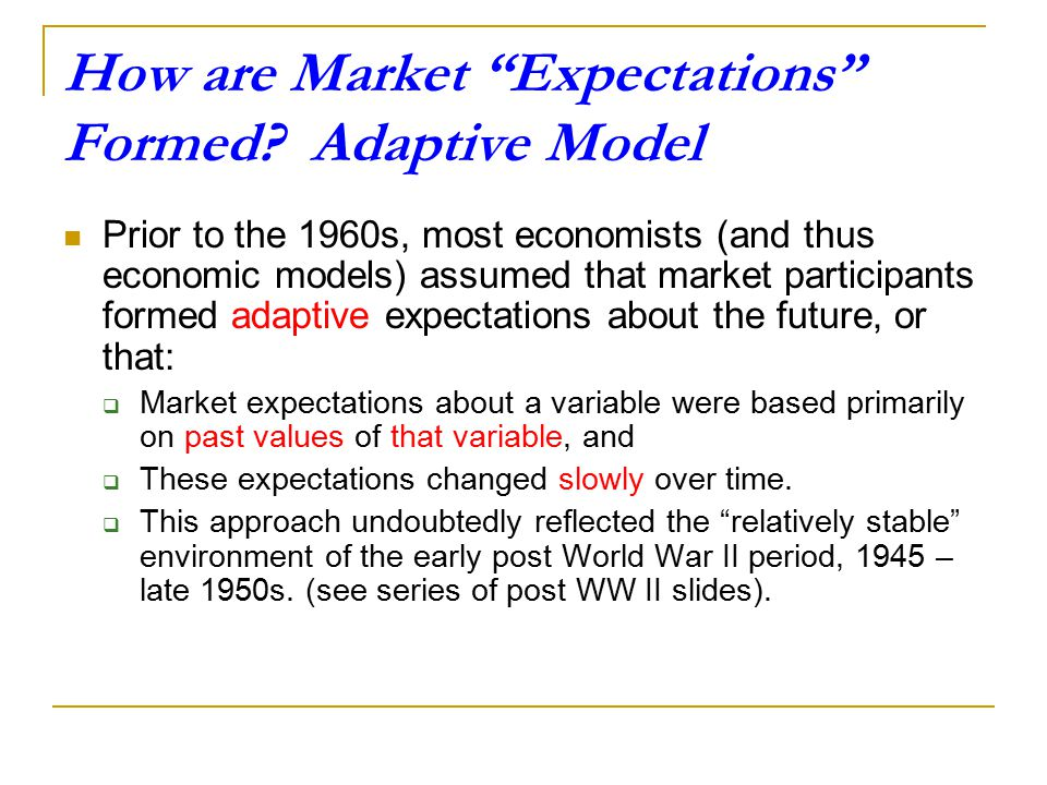 How are Market Expectations Formed Adaptive Model