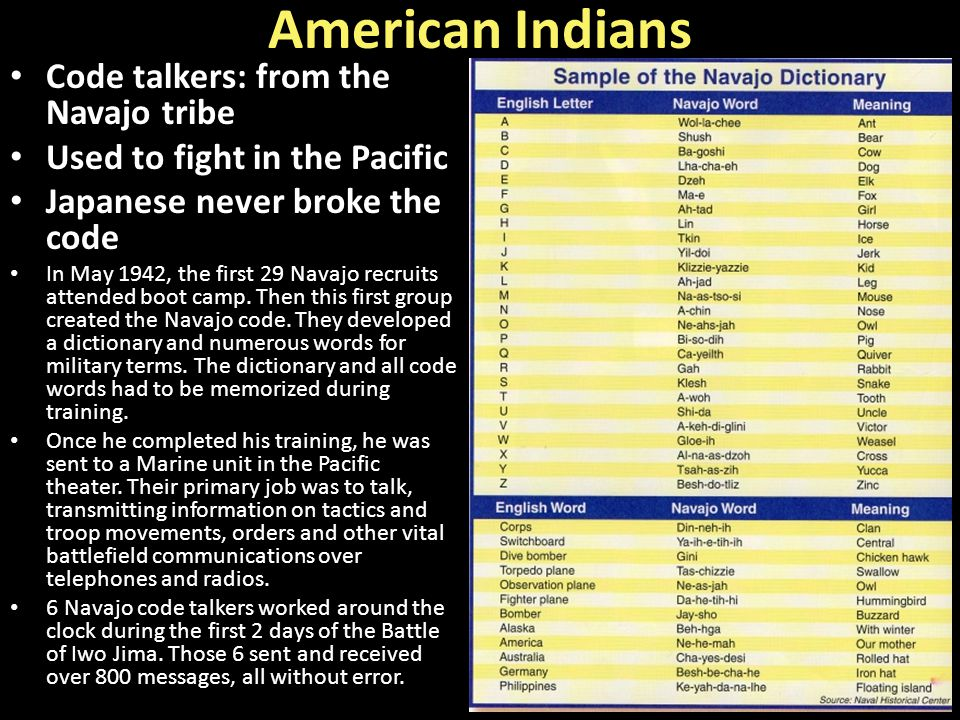 American Indians Code talkers: from the Navajo tribe