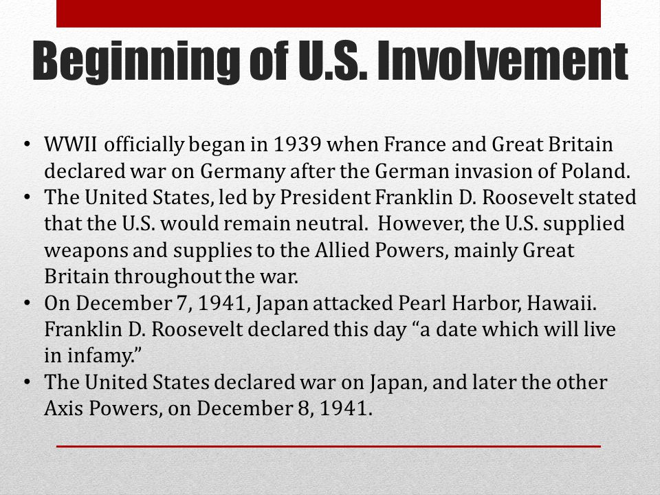 Beginning of U.S. Involvement