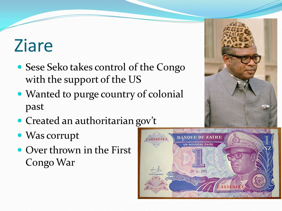 Ziare Sese Seko takes control of the Congo with the support of the US