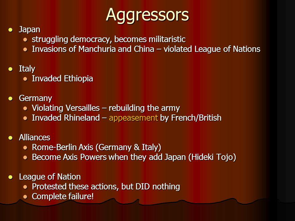 Aggressors Japan struggling democracy, becomes militaristic