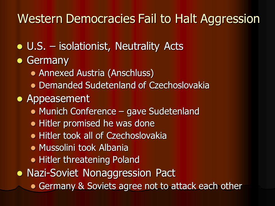Western Democracies Fail to Halt Aggression