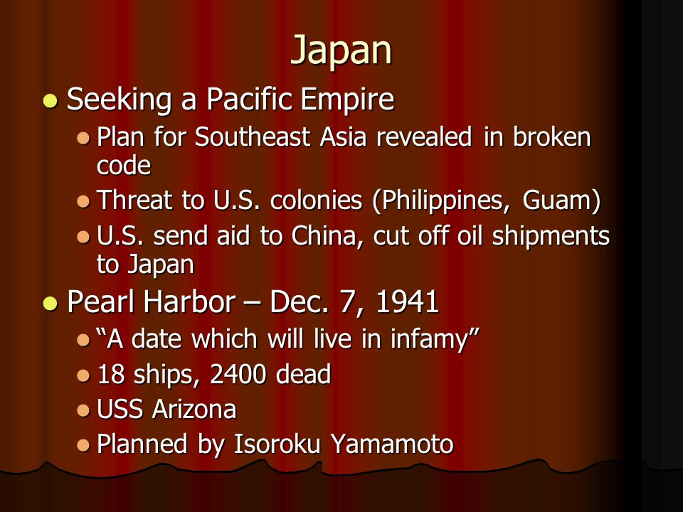 Japan Seeking a Pacific Empire Pearl Harbor – Dec. 7, 1941