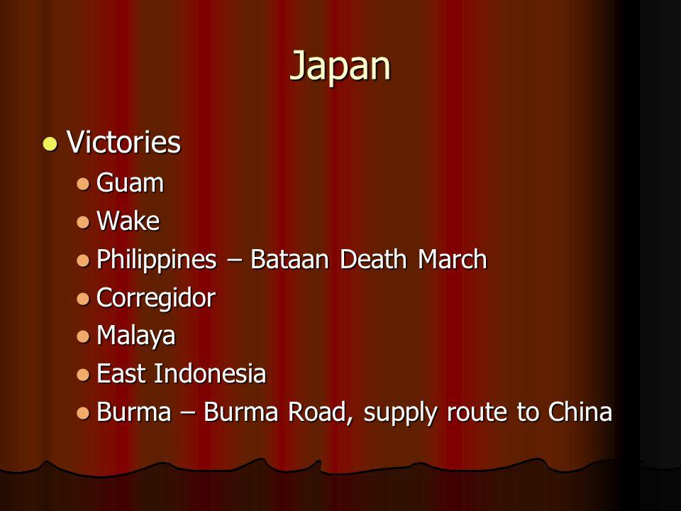 Japan Victories Guam Wake Philippines – Bataan Death March Corregidor