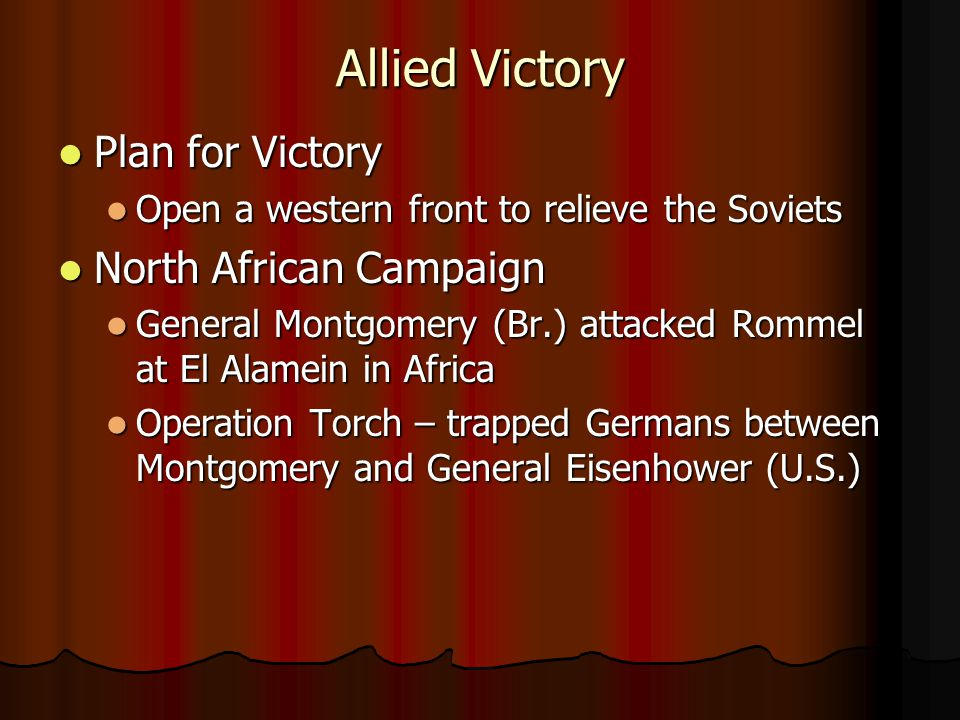 Allied Victory Plan for Victory North African Campaign