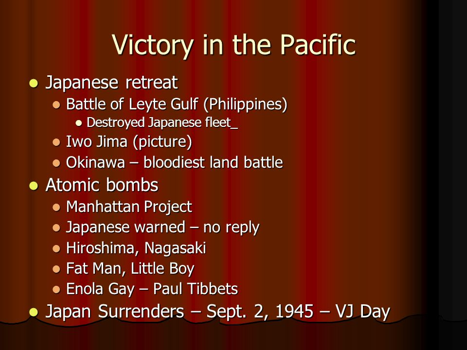 Victory in the Pacific Japanese retreat Atomic bombs