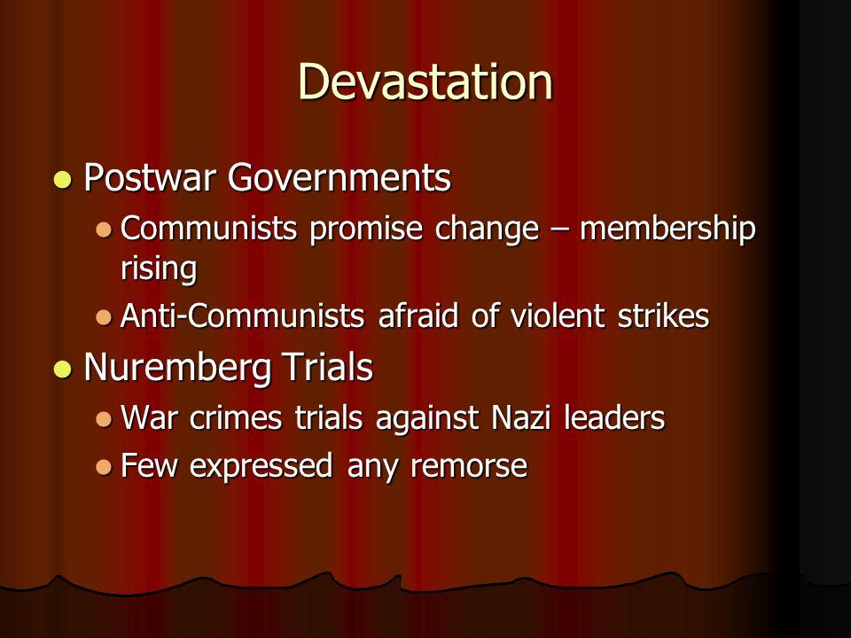 Devastation Postwar Governments Nuremberg Trials