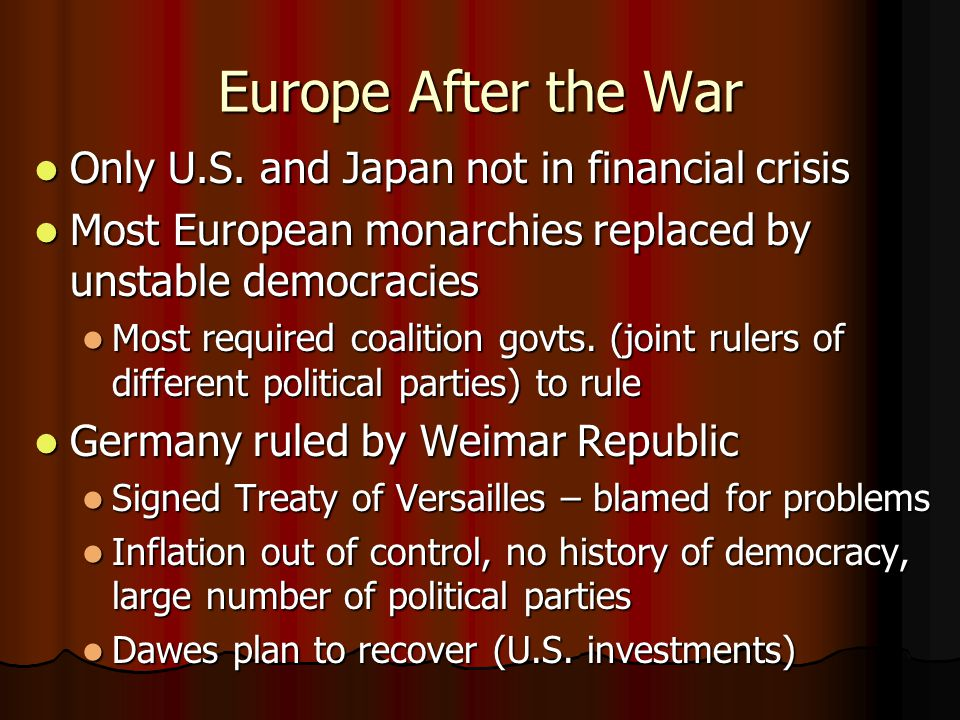 Europe After the War Only U.S. and Japan not in financial crisis