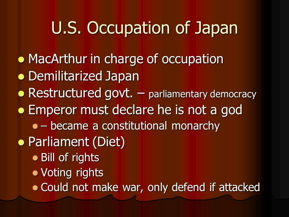 U.S. Occupation of Japan MacArthur in charge of occupation
