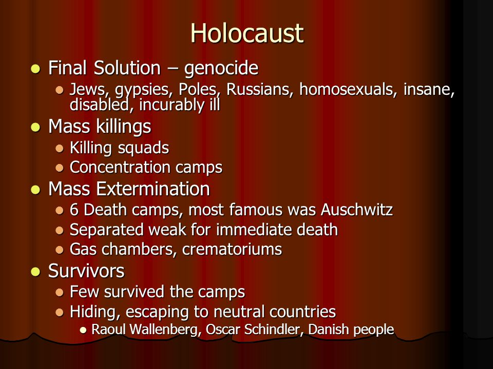 Holocaust Final Solution – genocide Mass killings Mass Extermination