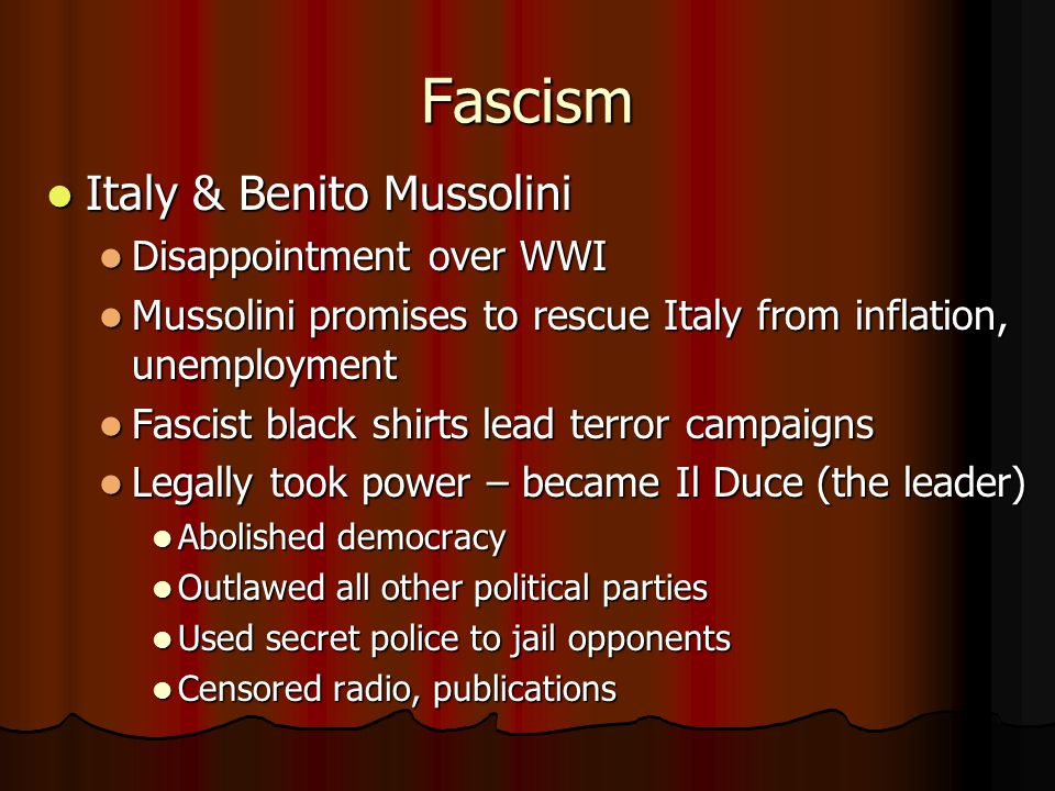 Fascism Italy & Benito Mussolini Disappointment over WWI