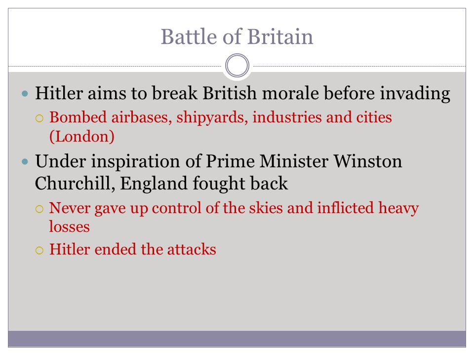 Battle of Britain Hitler aims to break British morale before invading