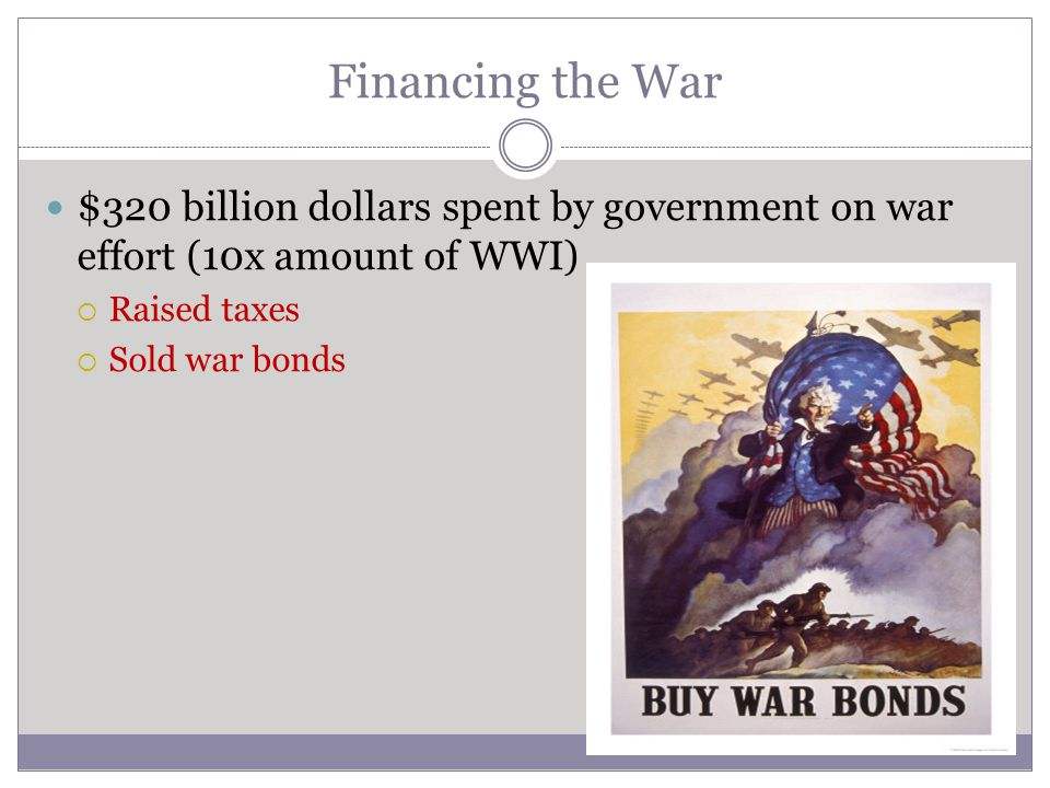 Financing the War $320 billion dollars spent by government on war effort (10x amount of WWI) Raised taxes.