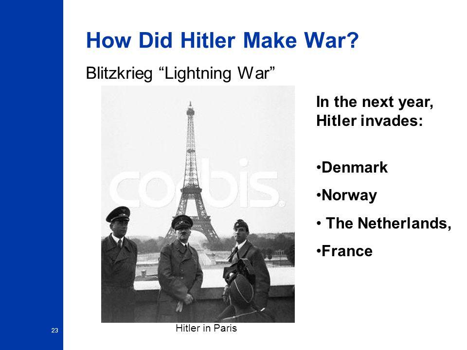 How Did Hitler Make War Blitzkrieg Lightning War