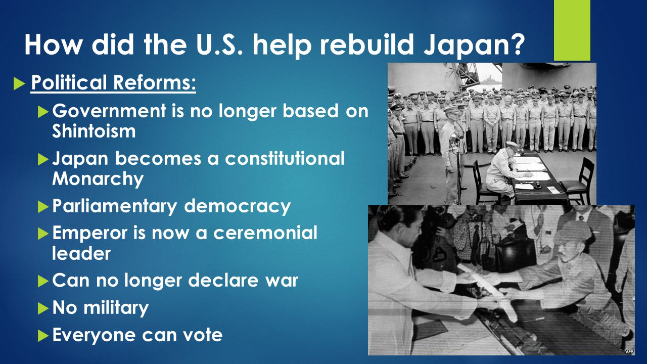 How did the U.S. help rebuild Japan