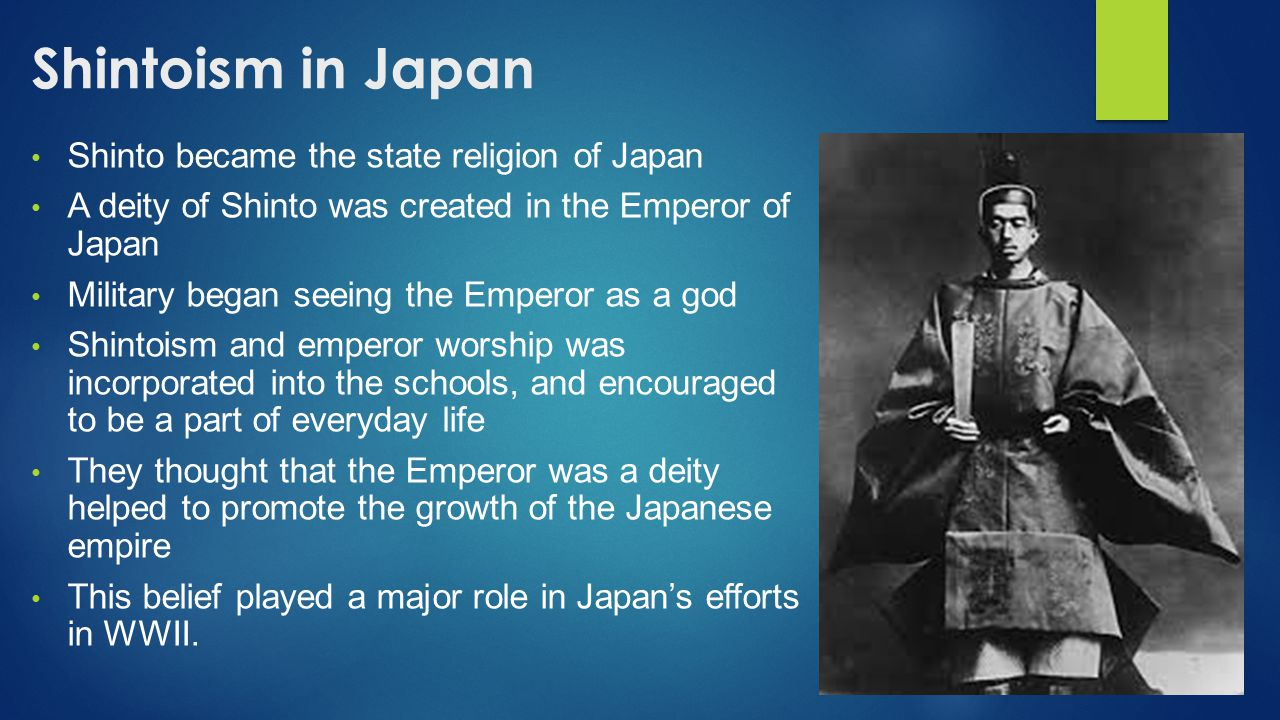 Shintoism in Japan Shinto became the state religion of Japan