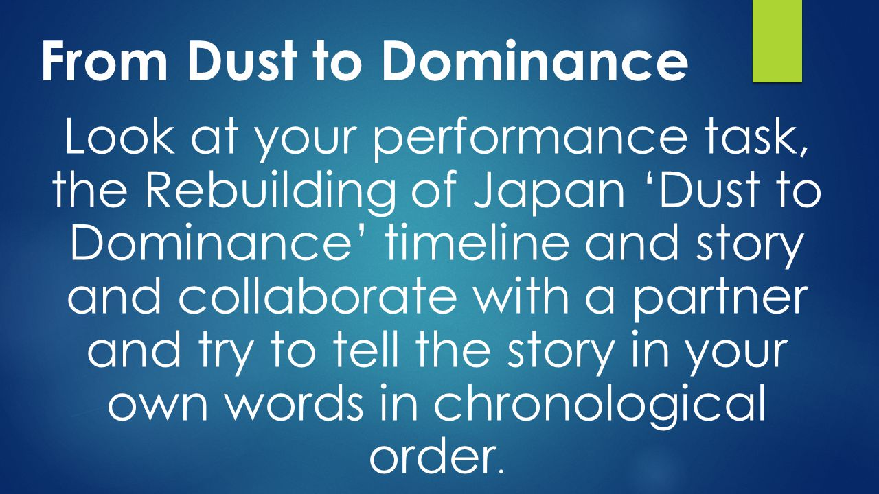From Dust to Dominance