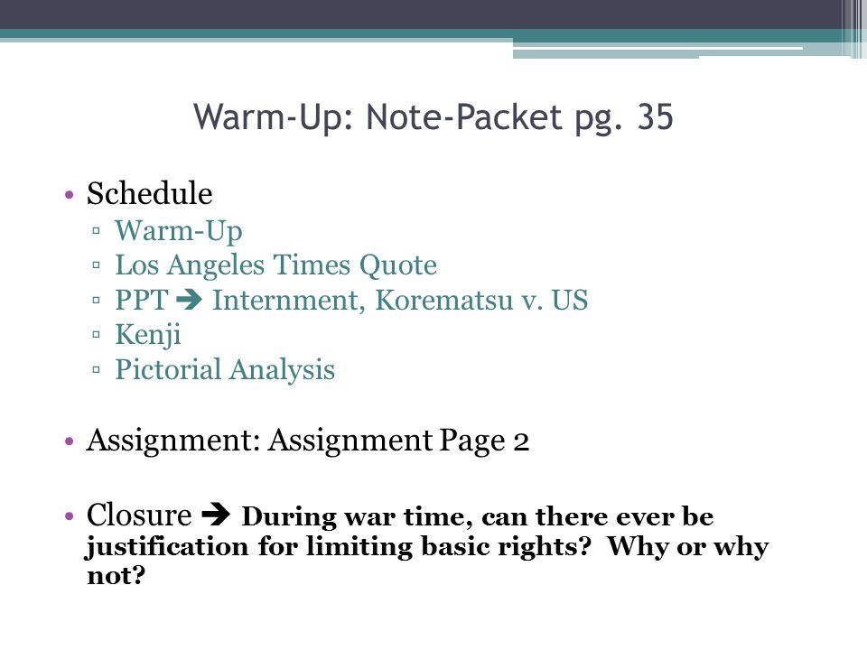 Warm-Up: Note-Packet pg. 35