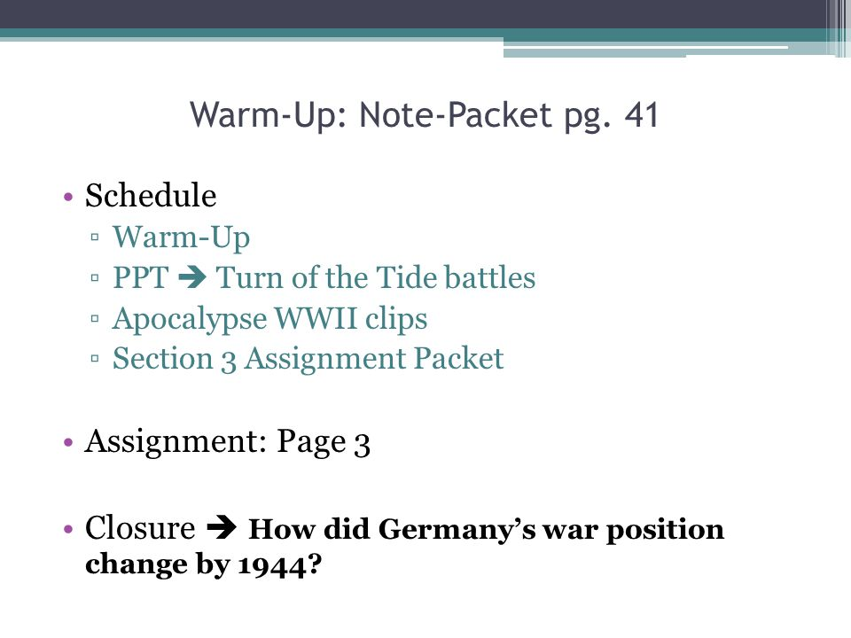 Warm-Up: Note-Packet pg. 41