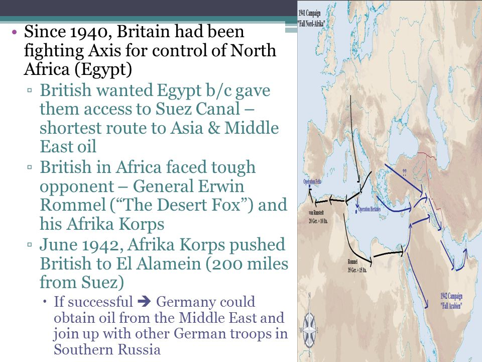 Since 1940, Britain had been fighting Axis for control of North Africa (Egypt)