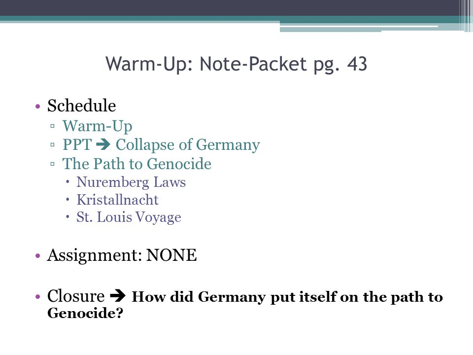 Warm-Up: Note-Packet pg. 43