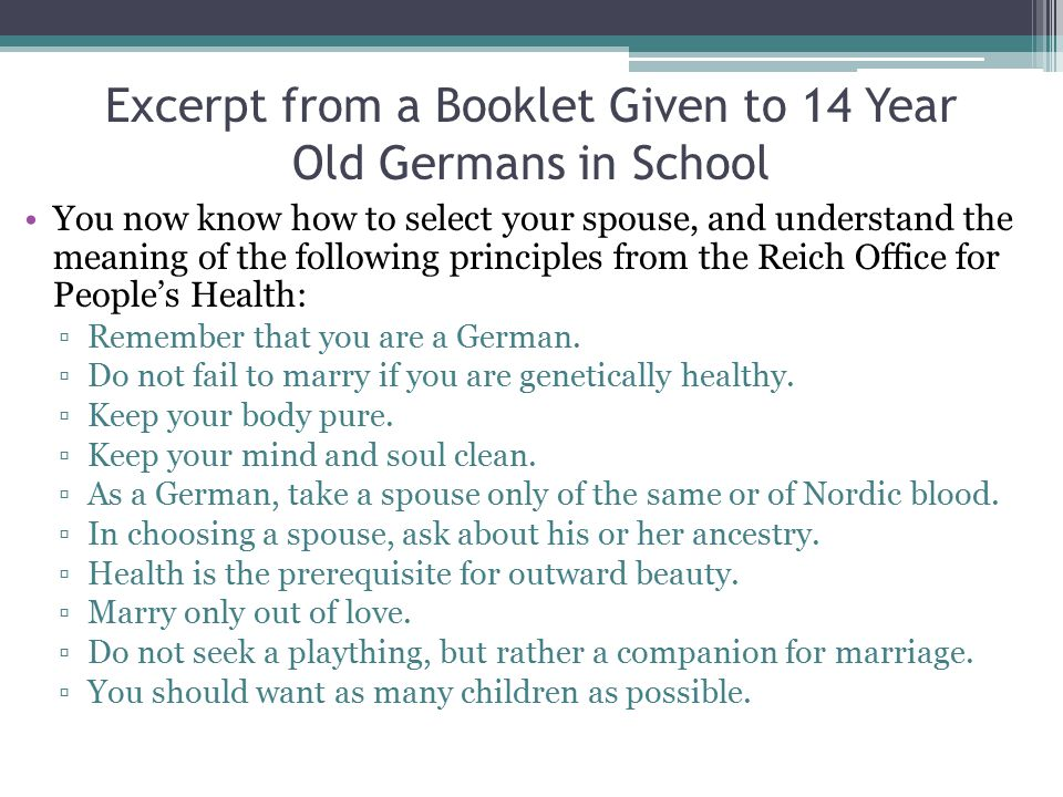 Excerpt from a Booklet Given to 14 Year Old Germans in School