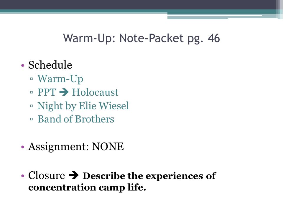 Warm-Up: Note-Packet pg. 46
