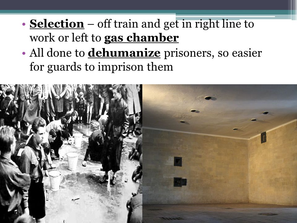 Selection – off train and get in right line to work or left to gas chamber