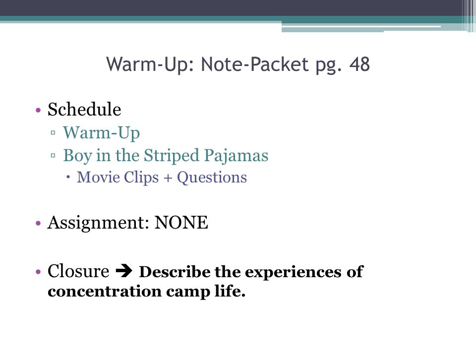 Warm-Up: Note-Packet pg. 48