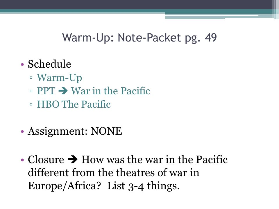 Warm-Up: Note-Packet pg. 49