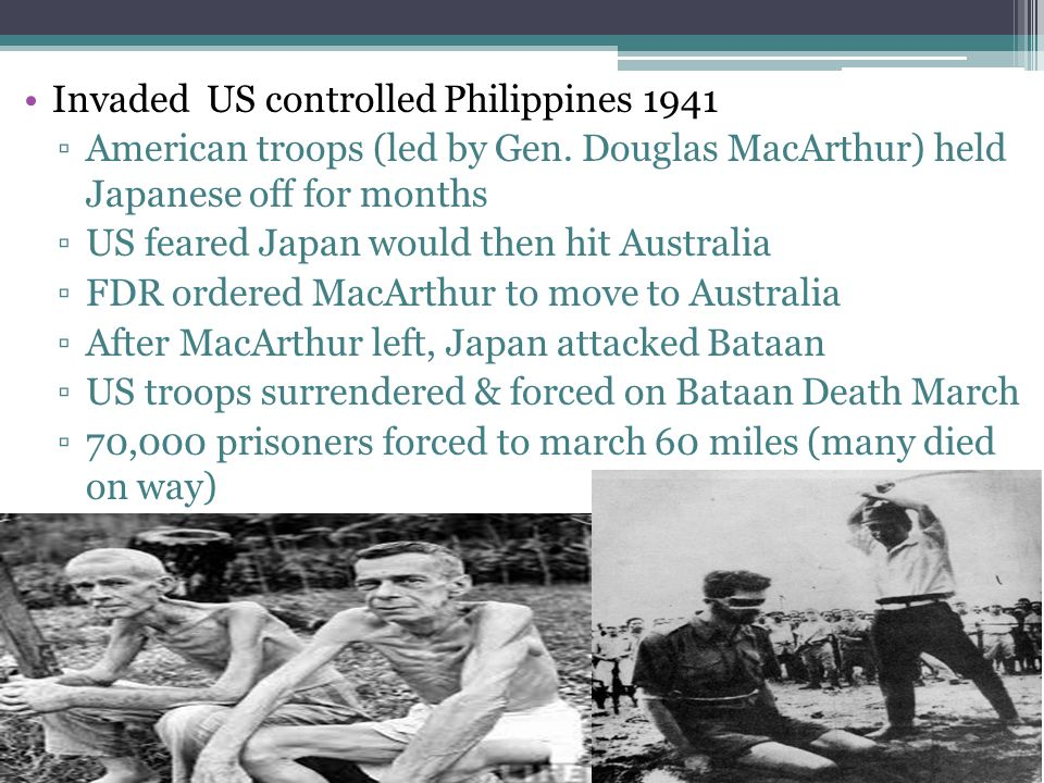 Invaded US controlled Philippines 1941