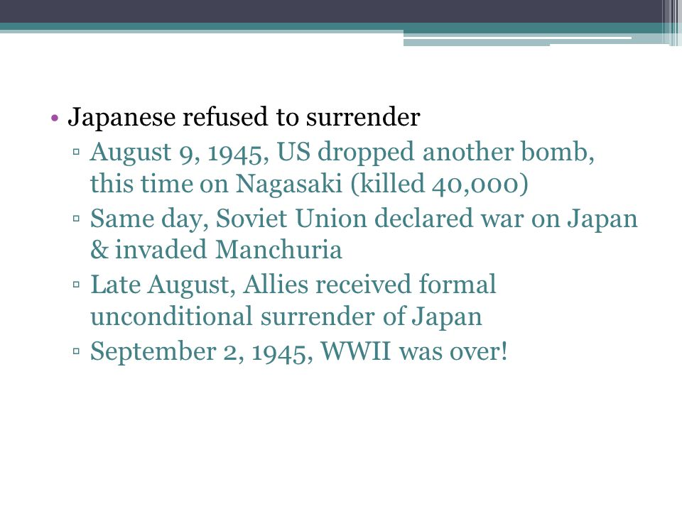 Japanese refused to surrender