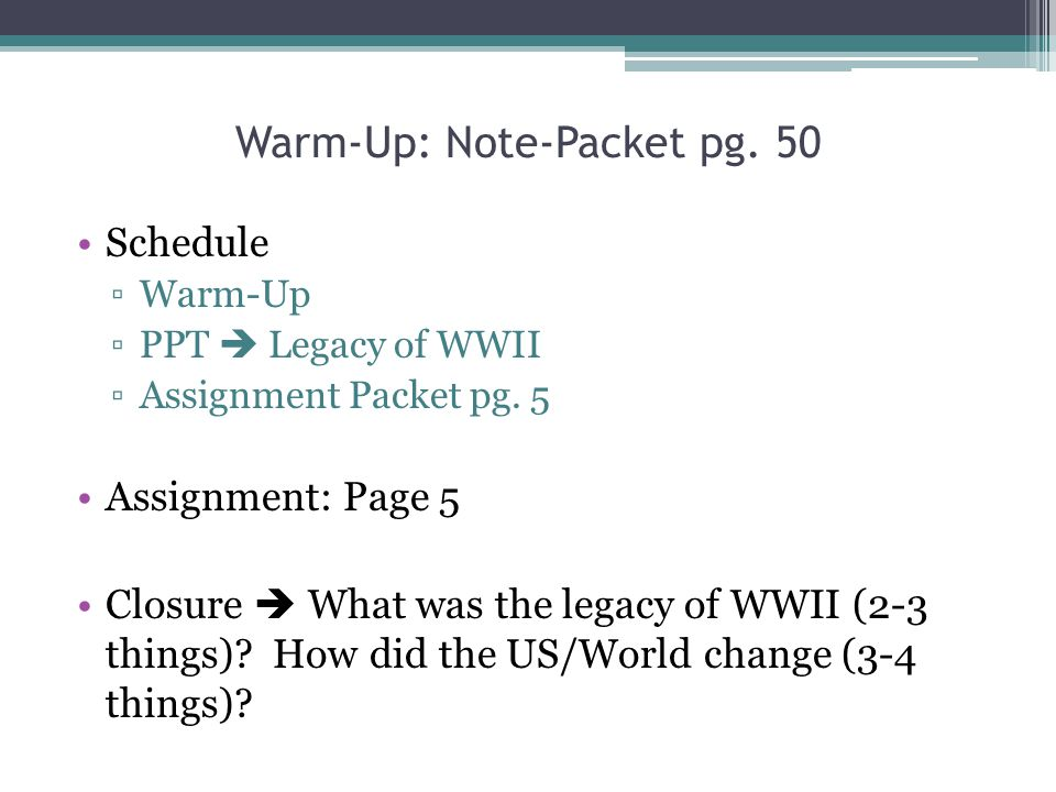 Warm-Up: Note-Packet pg. 50