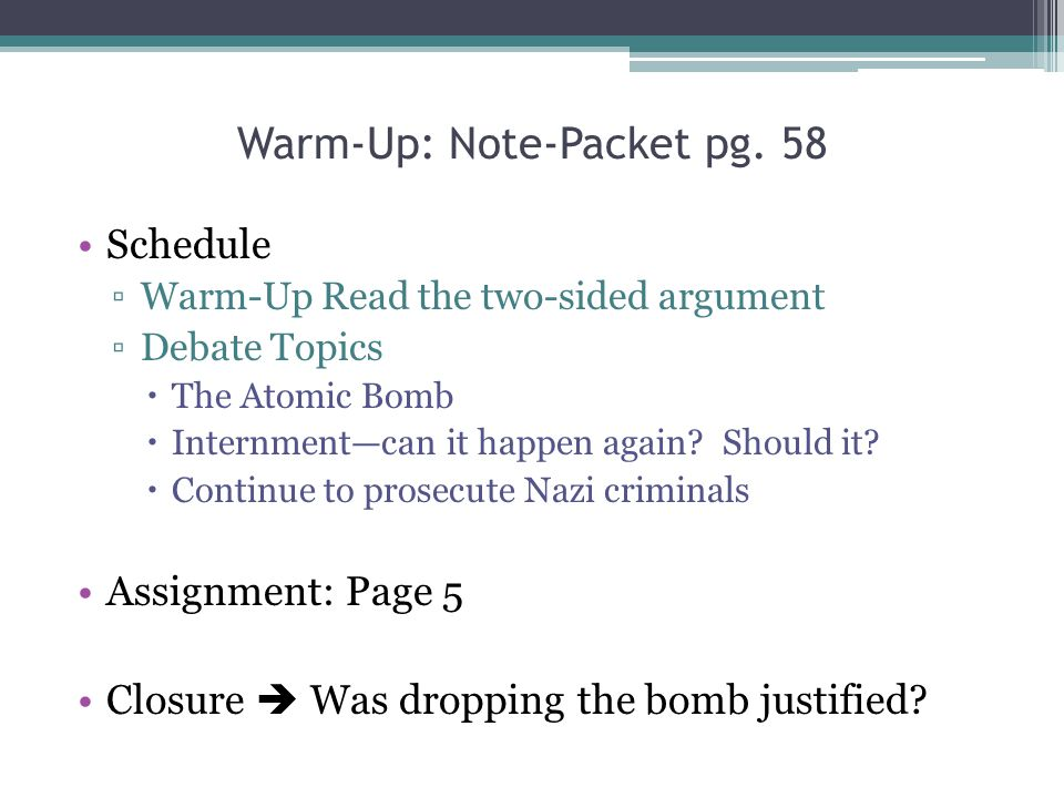 Warm-Up: Note-Packet pg. 58