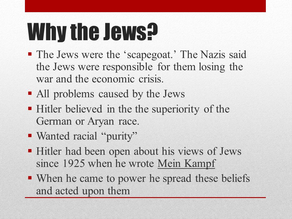 Why the Jews The Jews were the 'scapegoat.' The Nazis said the Jews were responsible for them losing the war and the economic crisis.